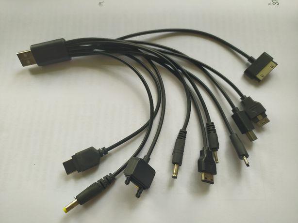 Kabel do ładowania telefonu 1 USB x 10 wtyczek