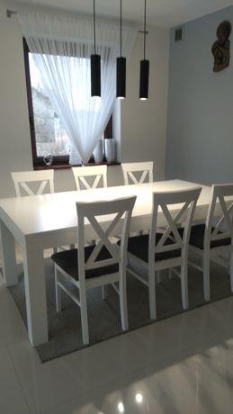 Stół fornirowany i 6krzeseł drewnianych, komplet, biały,