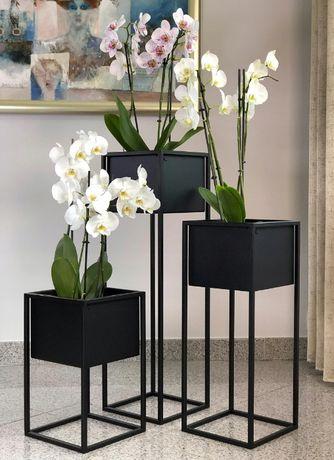 Kwietnik metalowy donica stojak na kwiaty loft 400x240x240