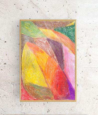 ładna abstrakcja 21x30, kolorowy obrazek, rysunek w ciepłych kolorach