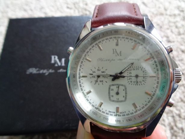 Relógio de homem, bracelete pele, Phillipe de Mornay