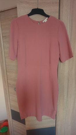 Różowa sukienka H&M z rękawem do łokcia, rozmiar 42
