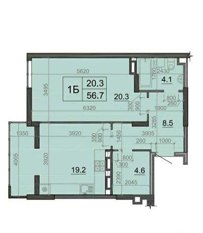 Великогабаритна 1 кім. квартира