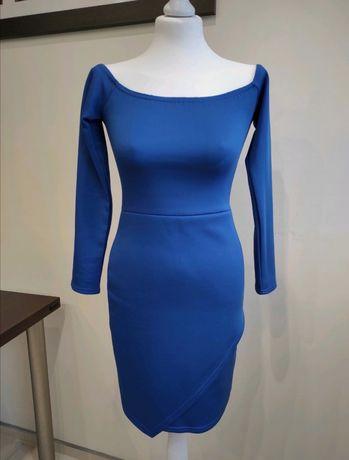 Sukienka ołówkowa dopasowana opadające ramiona granatowa S/M