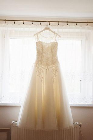 Suknia ślubna princessa ecru/ivory XS 156 + 6cm koronka tiul