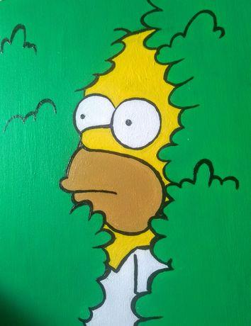 Obraz duży 50x60cm ręcznie malowany The Simpsons Homer nowoczesny