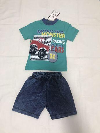 Костюм: джинсовые шорты, футболка 6-9, комплект летний