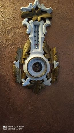 Barometr pokojowy biało-zloty