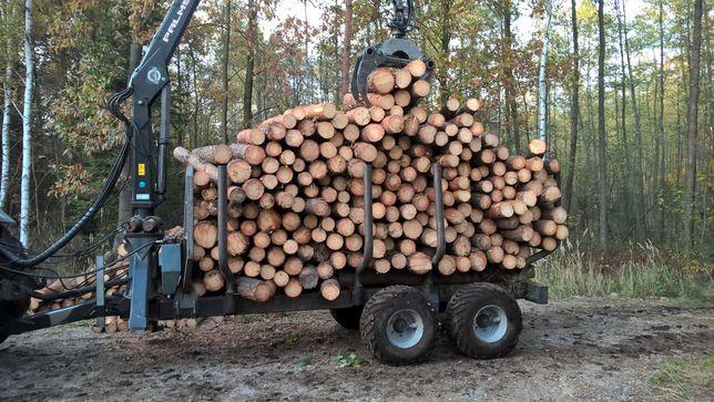 Przyczepa lesna Palms drzewa drewna ciagnik massey 3650