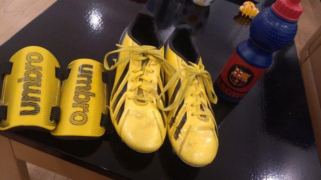 Korki Adidas r.38 + ochraniacze Umbro + bidon Barcelona