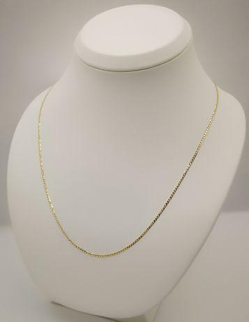 Śliczny złoty łańcuszek. Nowy. Pancerka, złoto 14k/585. 45cm