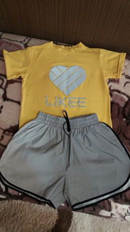 Светоотражающие шорты и футболка  рост 164