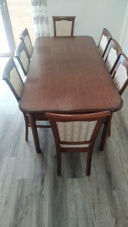 Stół rozkładany z 8 krzesłami mahoniowy brąz