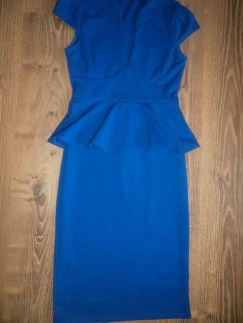 Elegancka chabrowa sukienka sukieneczka klasyczna ołówkowa