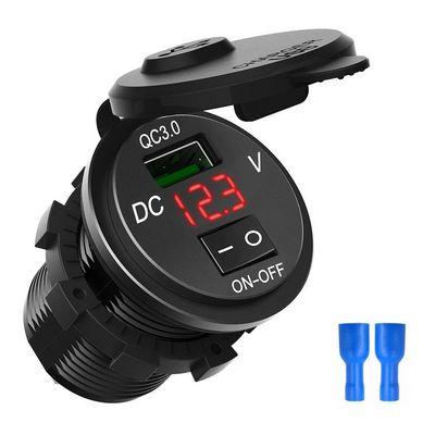 Автомобильная USB зарядка 3.0А+вольтметр +выключатель 12-24V