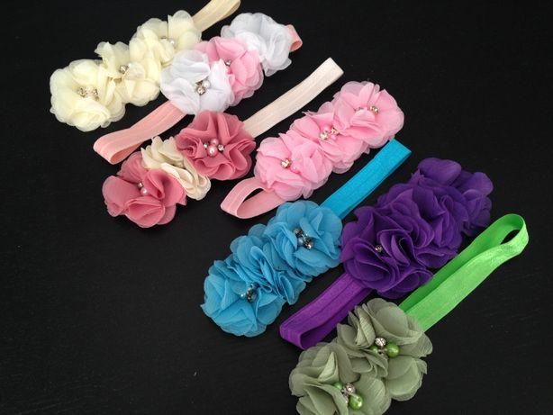 Opaska kwiat elegancka nowa biała różowa fiolet roczek/chrzest/ wesele