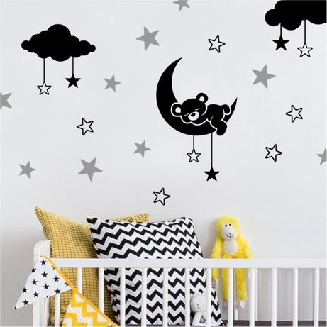 Naklejki dla dzieci na ścianę chmurki, gwiazdki, misie