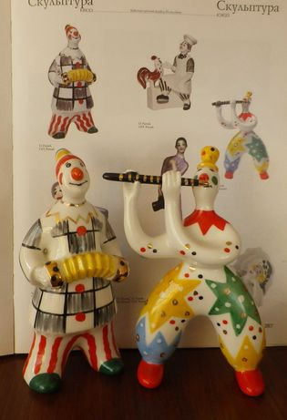 """""""Клоуны с гармошкой и флейтой"""" 16 см и 16,5 см ВС автор Рапай Киев"""