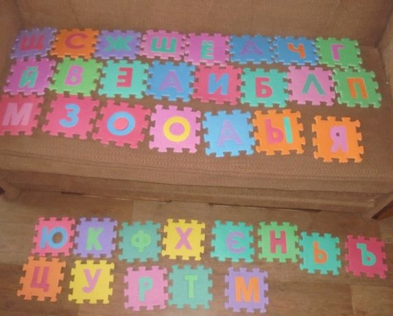 Мягкие пазлы коврик мат буквы алфавит абетка кубики в подарок.