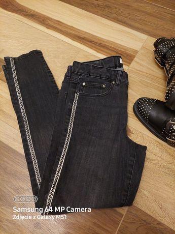 Nowe Czarne jeansy z błyszczącymi lampasami Zara 152cm (11-12Y)