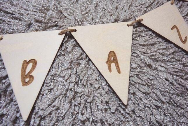 Drewniana GIRLANDA własny napis GRAWER