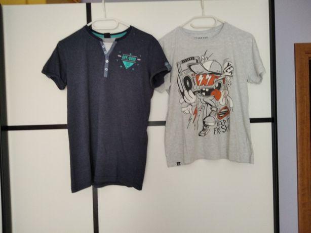 T-shirt granatowy rozm. 170/176, T-shirt szary rozm. 164