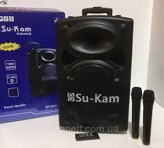 Акустика колонка чемодан Su-Kam UKC BT12A 2 микрофона 12v\220v,новая.
