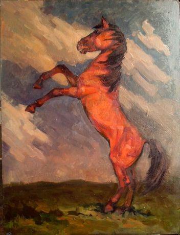 Конь на дыбах. Художник. Картины. Живопись. Искусство.