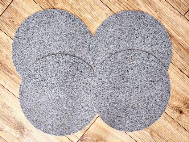 Komplet podkładki na stół pod talerze szare gumowe zestaw 4