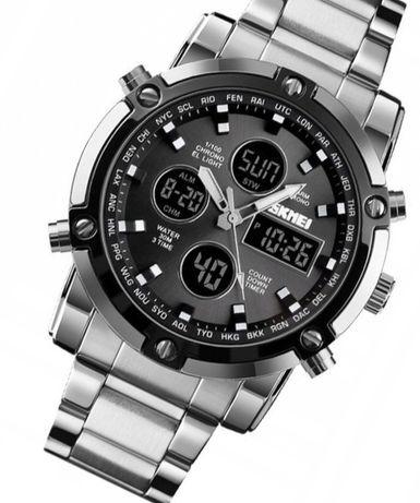 Zegarek męski SKMEI czarno-srebrny z pudełkiem na prezent