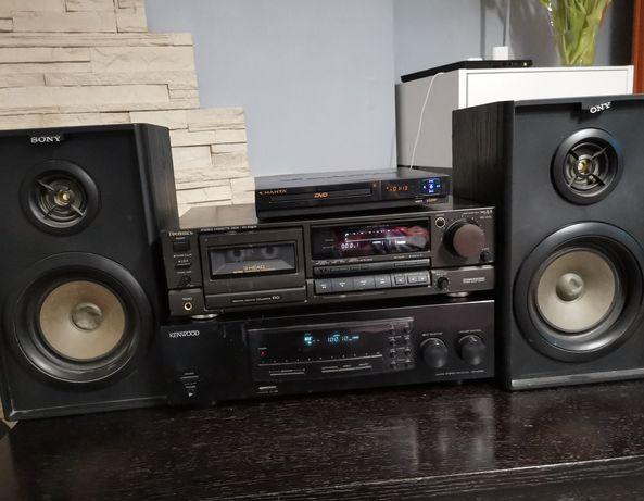 Zestaw Amplituner Kenwood + kolumny Sony i CD/DVD