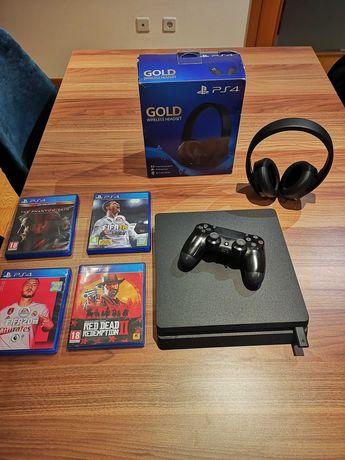 PS4 SLIM 500G +Headphones +Jogos