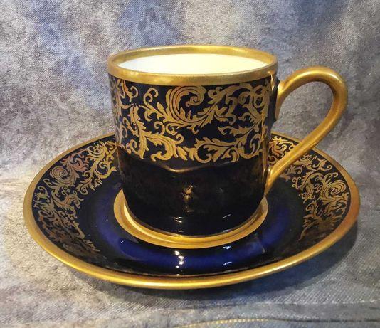 Reichenbach Filiżanka do mokka, porcelana kobalt złoto Gdr