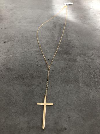 Naszyjnik celebrytka krzyzyk krzyz srebro 925 zloty kolor wysylka