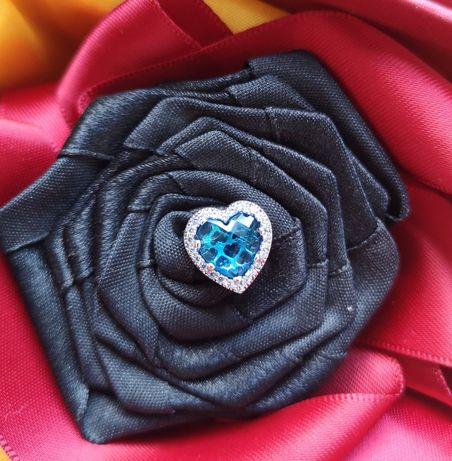 Zawieszka charms serce niebieskie srebro 925