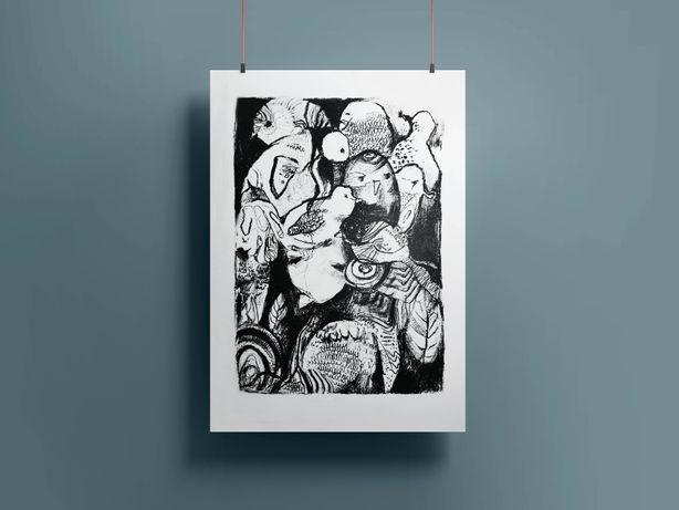 Wydruk grafika artystyczna sztuka rysunek obraz plakat ilustracja