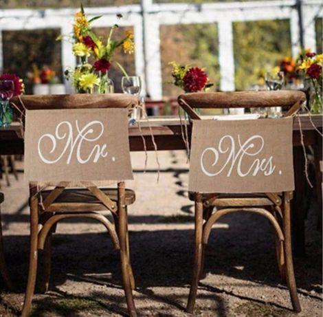 Zawieszki na krzesła MR MRS ozdoby rustykalne juta wesele