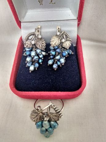 Серьги и кольцо,серебро 925, жемчуг