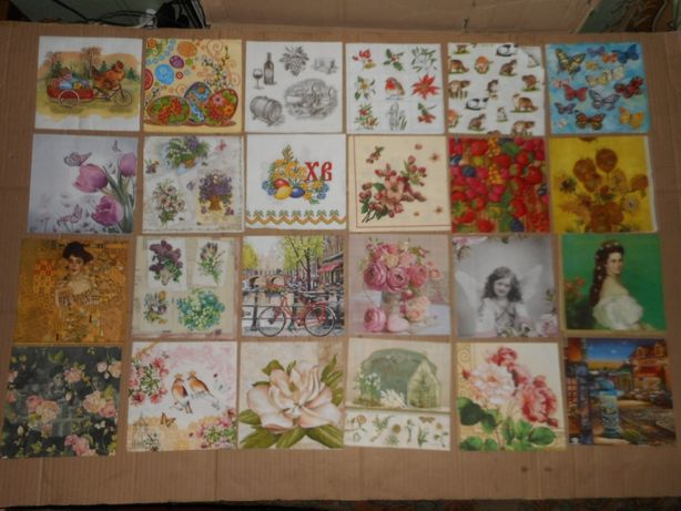 Коллекция разных салфеток с интересными картинами 47 шт