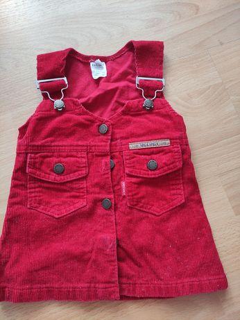 Czerwona struksowa sukienka r.80