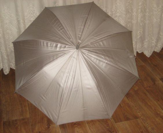 Зонт серебристый трость