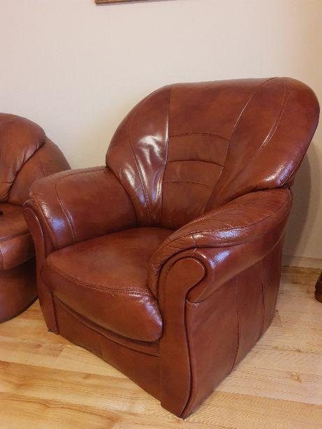 Fotel skórzany - brązowy