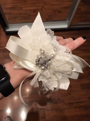 Свадебное украшение на бутылку шампанского. Ручная работа