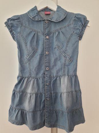 Sukienka dżinsowa 134 guziki 10 lat