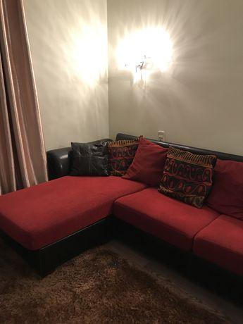 Sofa de Pele e Tecido