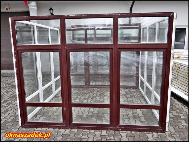 272x208 duże okno PCV mahoń używane- ściana, szklarnia, fix - Szadek