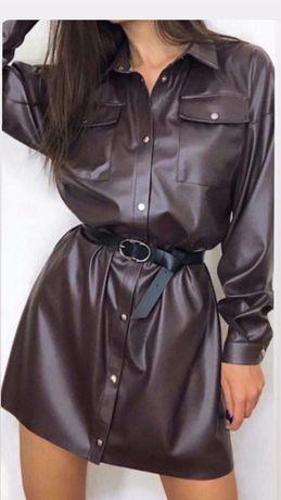 Кожаное платье - рубашка