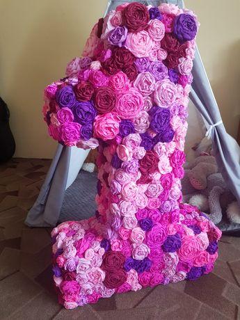 Cyferka jeden 1 roczek bibuła kwiaty urodziny dekoracje zdjecia
