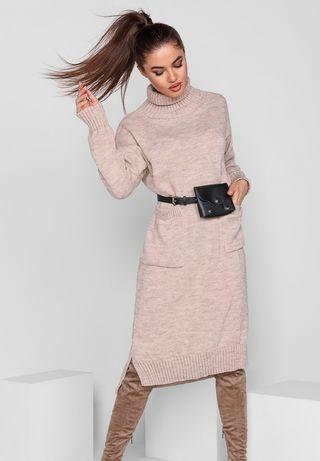Тёплое объёмное платье длинное макси