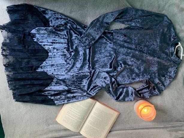 sukienka 152 reserved granatowa